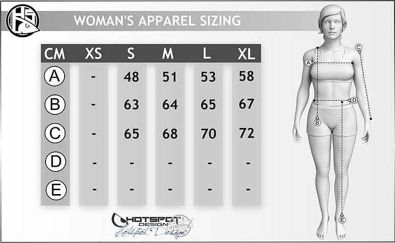 felpa carpfishing woman chart